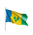 waving flag of saint vincent vector image vector image