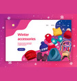 winter accessories landing page vector image