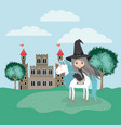 witch with unicorn in the camp and castle vector image vector image