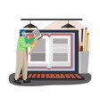 young man student with tablet studying vector image vector image