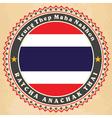 Vintage label cards of Thailand flag vector image