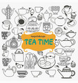 hand drawn set of tea objects on white background vector image