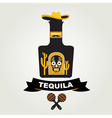 Tequila menu design Mexican drink vector image