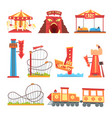 amusement park elements set funfair attraction vector image vector image