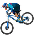 an image of a cyclist descending on a mountain vector image vector image