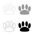 animal footprint the black and grey color set vector image vector image