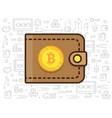 bitcoin and wallet vector image