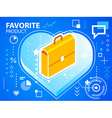 bright heart and work suitcase on blue backg vector image