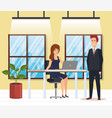 business couple in the workplace vector image vector image