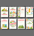 camping trip cards set hiking template of flyear vector image