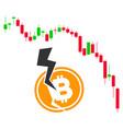 candlestick chart bitcoin crash flat icon vector image