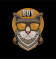cat boy headphone vector image