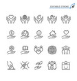 charity and donation line icons editable stroke vector image