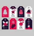 christmas tags new year present and xmas gift vector image vector image