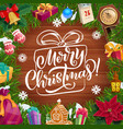 christmas wreath xmas tree gifts and presents vector image vector image