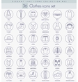 Clothes outline icon set Elegant thin line vector image