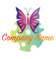 colorful logo a buterfly and dotted circle on vector image
