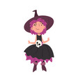cute girl witch wearing dress and hat decorated vector image vector image