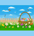 easter card with easter eggs on a grass field vector image