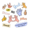 Fashion patch badges Hands set Stickers pins vector image vector image
