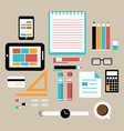 flat design style office equipment working vector image vector image