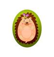 funny hedgehog is sleeping on green grass near vector image vector image