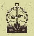 gardening service round emblem with shovel vector image