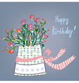 Greeting birthday card with flowers pot vector image vector image