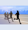 group marathon runners silhouettes on abstract vector image vector image