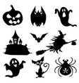 haloween icons set in black vector image