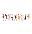 happy people in retro-styled clothes dancing vector image