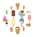 ice cream icons set cartoon style vector image