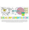 ideas implementation poster vector image