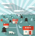Landscape with Houses Deers Mountains and Forest vector image