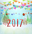 Merry christmas happy new year 2017 vector image vector image
