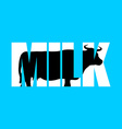 Milk Silhouette of cow in text Farm animals and vector image