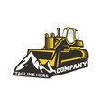 modern logo bulldozer and mountains vector image