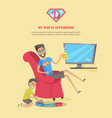 my dad is superhero in flat design vector image vector image