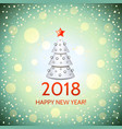 new year background with elegant christmas tree vector image