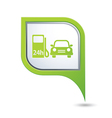 petrol station AND car GREEN pointer vector image vector image