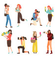 photographers taking photoes women with flowers vector image vector image
