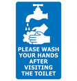 please wash your hands after visiting the toilet vector image vector image