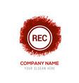 recording icon - red watercolor circle splash vector image