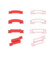 red ribbons banners in trendy flat and lines vector image vector image