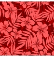Red tropical flowers silhouettes seamless pattern vector image vector image