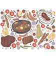roasted meat with vegetables grilled steak vector image vector image