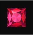 ruby jewerly square stone gemstone vector image vector image