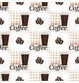 seamless background with coffee beans and cups vector image vector image