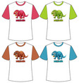 set different colour dinosaur screen on vector image