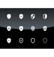 Shield icons on black background vector image vector image